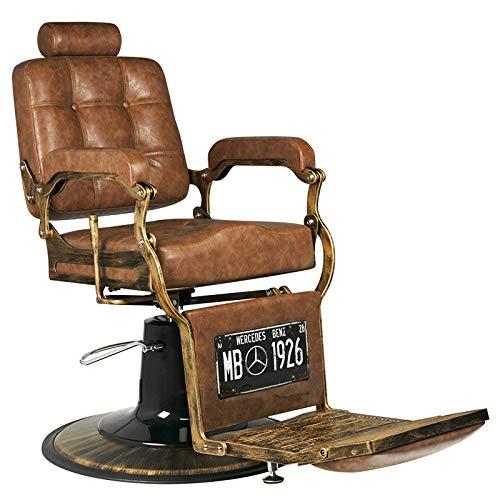 GABBIANO BOSS - Poltrona da barbiere BarberPub Poltrona reclinabile idraulica Salone di bellezza : Marrone chiaro