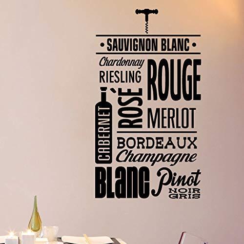 TYLPK Französisch Weingut Muster Wandaufkleber mobile Vinyl Bar Tapete Wandbild Schwarz 42x75cm