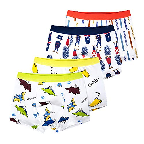 Z-Chen 4er Pack Kinder Jungen Boxershorts Unterhosen, Gemischt, Gr. 110-116