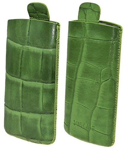 Suncase Original Tasche für AEG Voxtel SM315 Leder Etui Handytasche Ledertasche Schutzhülle Hülle Hülle - Lasche mit Rückzugfunktion* in Croco-grün