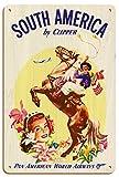 Pacifica Island Art América del Sur por Clipper - Pan American Airways - Gaucho Argentino (Jinete) balanceando Boleadoras - Póster Viaje Línea aérea c.1950s - Letrero de Madera 20x30cm