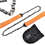 Portable Survival Gear Chain Saw Chainsaw Emergency Camping Hiking Pocket Hand Cutting Firewood Tool Pouch (Orange)
