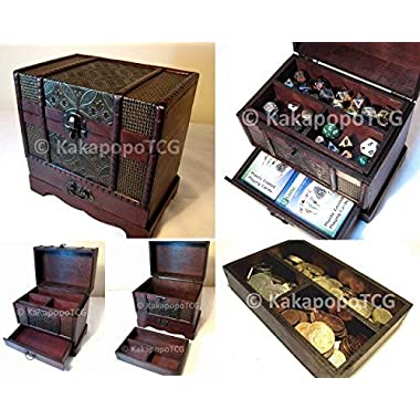 C2 Wooden Chest with drawer for collectible Fantasy Coins Card Games Dice Counter Deck of Cards Table Top Role Playing Jewelry Box Tabletop DND