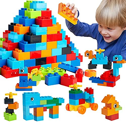 WYSWYG Lot de 220 Briques de Construction pour Enfants - Jouets Classiques pour Enfants - Compatible avec Toutes Les Grandes Marques - Jouet éducatif pour garçons et Filles de Plus de 3 Ans.
