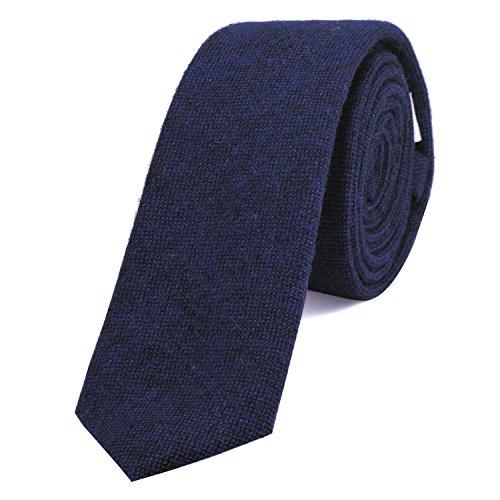 DonDon Corbata estrecha de algodón para hombres de 6 cm - azul oscuro negro