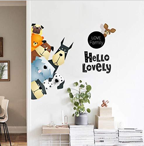 Schöne Hunde 3D Wandaufkleber Lustige Tür Fenster Kleiderschrank Kühlschrank Dekorationen für Kinderzimmer Wohnkultur Cartoon Tier Kunst Aufkleber 50x70 cm