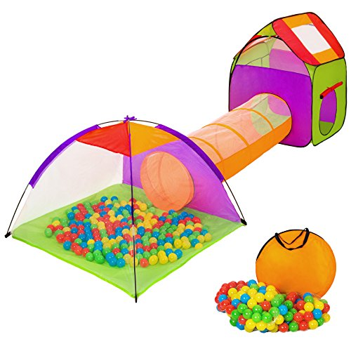 TecTake Igloo children's tent with tunnel +200 balls +bag (multicolored 1 | 401027)