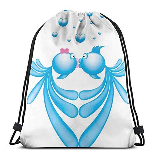LLiopn - Zaini a sacco con coulisse, motivo astratto a forma di cuore, colore: blu, con motivo a forma di cuore, stile romantico, regolabile, capacità 5 litri, regolabile.