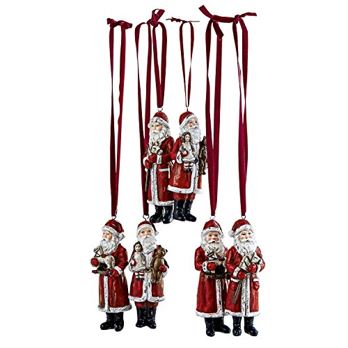 Loberon Weihnachtsmann 6er Set Corvin, Polyresin, H/B/T 11/4 / 3 cm, rot