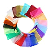 DECORA 4x6 Inch 20 Colors Organza Drawstring Bags Wedding Favour Mesh Bags for Gift Mini Jewelry Candy Pack of 120