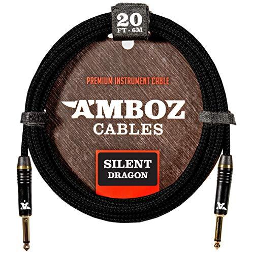 Cable de Instrumentos Silent Dragon - Sin ruido para Guitarra Eléctrica y Bajo - Conectores Silenciosos Dorados Plateados 6 metros de pulgada recto 1/4 jack macho macho