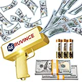 RUVINCE Gold Money Gun Shooter – Cash Cannon for Movies That Look Real,Prop Gun Make it Rain with 200 pcs 100 Dollar Bills,Comes with 3 GP Ultra Alkaline AA Batteries
