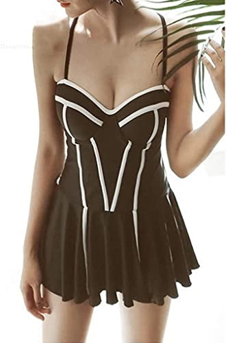 ZXCC Maillot de Bain Une pièce de Style Robe Femme, Bikini Conservateur à Bonnets Chauds et Chaud au Printemps (Couleur  Noir) (Couleur   Noir, Taille   L)