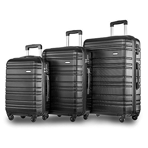 Merax 3 Piece Lugagge Lightweight Hard Shell 4 Wheels Travel Trolley Suitcase Holdall Cabin Case (Set of 3, Black)