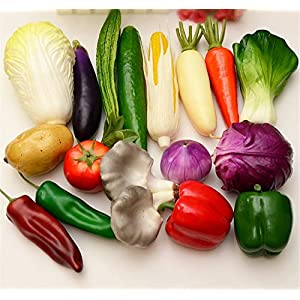 Skyseen 17Pcs Artificial Vegetable Fake Cabbage Potato Tomato Onion Carrot Cucumber Corn Pepper Mushroom Eggplant Home Party Decoration