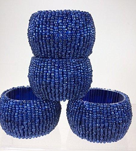ensemble de 4 - perles bleu anneaux ronds de serviette pour le mariage - repas de fête du parti - dia 6.4 cm