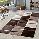 Moderna alfombra para salón, marrón, beige y crema, dibujo de cuadros contorneado a mano, polipropileno, marrón, 120 x 170 cm