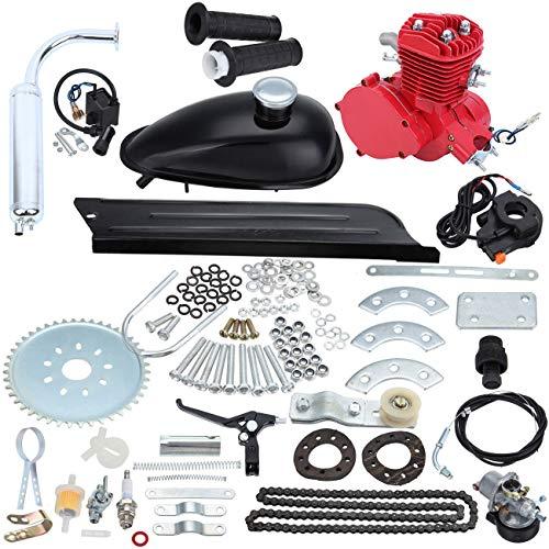 Sange 2 Stroke Cycle Petrol Bike Gas Motor Conversion Kit Air Cooling Motorized Engine Kit (80cc,Red)