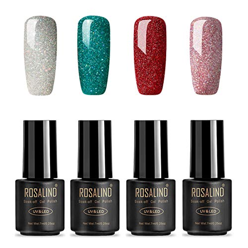 ROSALIND Esmaltes Semipermanentes de Uñas en Gel UV LED de Color Neon, 4pcs Kit de Esmaltes de Brillo Uñas 7ml ( Rainbow Gel)