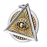 Colgante de plata de ley 925 con diseño masónico de masón con ojo que ve todo lo que ve, ojo de la Providencia para hombres y mujeres, dos tonos