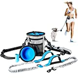 Dioche Hands Free Dog Leash,Retractable Dog Leash, Suitable for Up to 150 lbs Dogs, Dual-Handle Reflective Bungee Leash with Adjustable Waist Belt and Dog Water Bowl for Hiking Running Walking Jogging