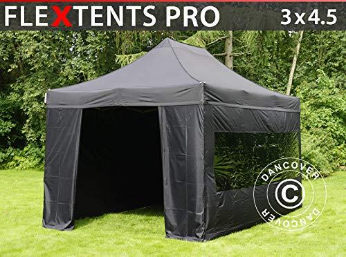 Dancover Vouwtent/Easy up tent FleXtents PRO 3x4,5m Zwart, inkl. 4 Zijwanden
