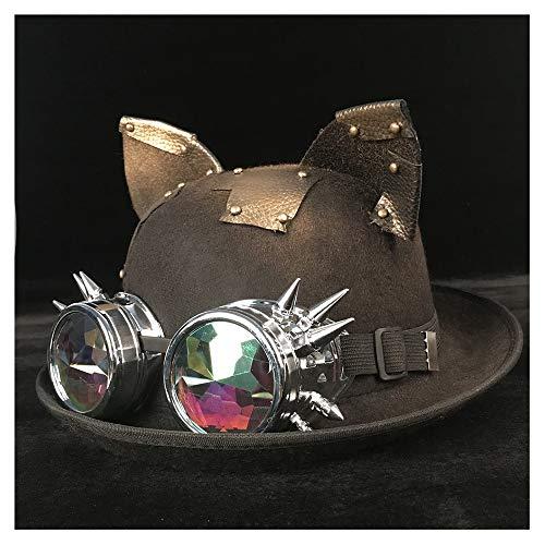 QiuKui Gorra de vaquero y sombrero de copa, Nuevo 2019 Steampunk sombrero hombres de las mujeres de Steampunk...