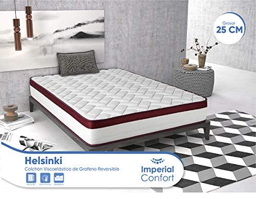 Imperial Confort Helsinki - Colchón Viscoelástico de grafeno - Doble cara (invierno/verano) - Grosor 25 cm - 105x180