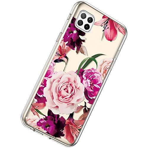 Herbests Kompatibel mit Huawei P40 Lite Hülle Silikon Weich TPU Handyhülle Durchsichtige Schutzhülle Niedlich Muster Transparent Ultradünn Kristall Klar Handyhülle,Rose Blume
