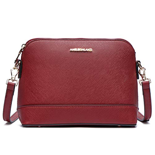 Crossbody Bags for Women, Lightweight Medium Dome Purses and Handbags with Adjustable Strap and Golden Hardwares (Wine Red)