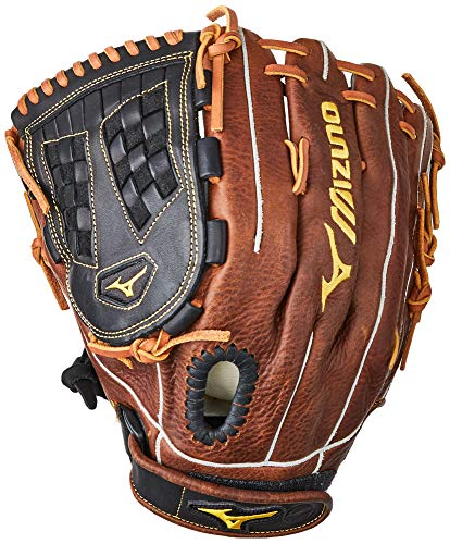 Mizuno Classic Fast Pitch Series GCF1250F2 Infield/Outfield/Pitcher Model Gloves, Black/Brown