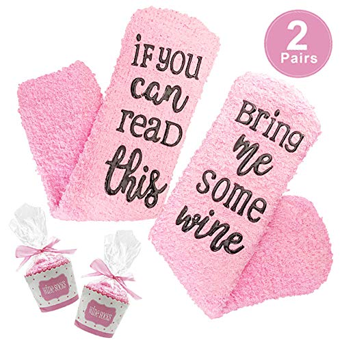 if You can Read This Bring me Some Wine Funny Novelty Wine Socks, Wine Accessories for Wine Lover and Gifts for her Like mom,Wife and All Female Friends as Bachelorette,Hostess,Birthday Gifts (Pink)