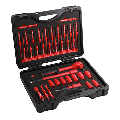 ARES 19004-37-Piece Insulated Electrical Tool Set - Ergonomic Handle with 19 Screwdriver Sizes and 4 Cabinet Keys - 1/2-Inch Drive Ratchet and Extensions - 9 Socket Sizes 10-24mm - Storage Case