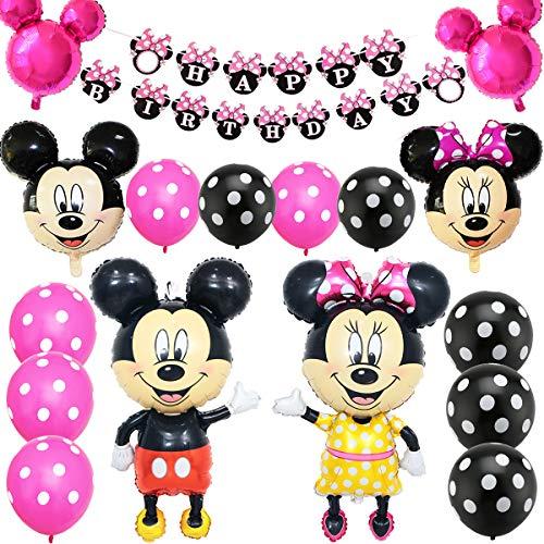Mickey Party Globos, FANDE Decoraciones de cumpleaños de Mickey Mouse, Mickey y Minnie Party Decorations Fiesta de cumpleaños de Mickey Mouse con Globos Rojos