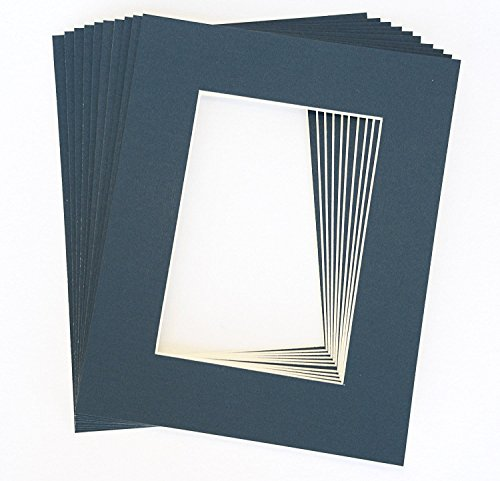 Pack of 10 NAVY BLUE 16x20 Picture Mats Matting with White Core Bevel Cut for 11x14 Pictures