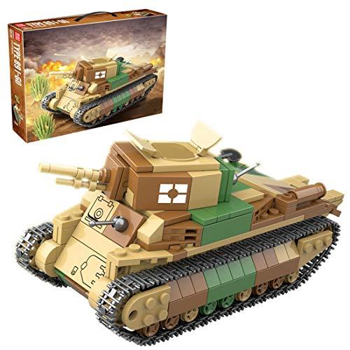 Bybo Tanque de construcción de bloques de construcción, militar, WWII 89I-Go, tanque de combate, 528 bloques de construcción compatible con Lego