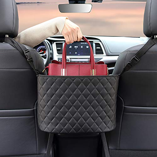 BXKM Car Net Pocket Handbag Holder Genuine Leather Car Seat Back Organizer Handbag Holder for Car Car Mesh Organizer Barrier of Backseat Pet Kids