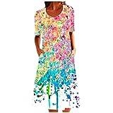 VCAOKF Vestido de mujer de moda retro, cuello redondo, mangas cortas, holgado, cómodo, sin mangas, estampado floral, vestido holgado, negro, azul, morado y rosa. Rosa. L