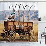Ambesonne Western Shower Curtain, Photo of Old Nostalgic Wild West American Cart Carriage in The Farm Texas Style, Cloth Fabric Bathroom Decor Set with Hooks, 70' Long, Brown Caramel