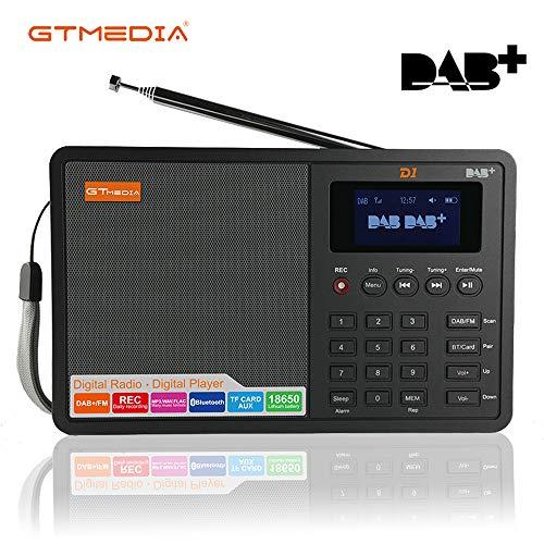 Radio DAB+/FM Portatili Bluetooth Lettore MP3 Speaker Digitale Sveglia Snooze Sleep Timer AUX-in TF Card Registrazione, USB Ricaricabile Batteria con 1.8' LCD Display