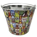 EUROXANTY Cubo para Cervezas | Cubitera Metálico para Botellines y Bebidas | Estructura Fuerte y Resistente | Material Inoxidable | Estampado de Cervezas |