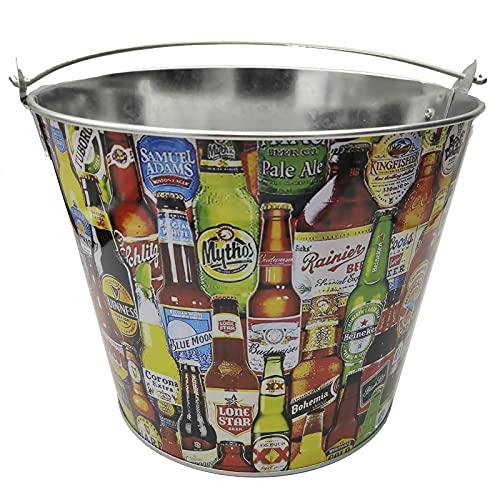 EUROXANTY Cubo para Cervezas   Cubitera Metálico para Botellines y Bebidas   Estructura Fuerte y Resistente   Material Inoxidable   Estampado de Cervezas  
