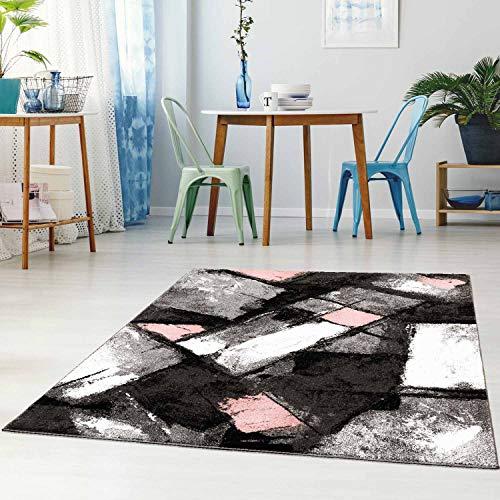Teppich Flachflor Modern Meliert Ethno-Look in Grau/Rosa Wohnzimmer Schlafzimmer Größe 160/225 cm