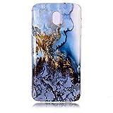 Galaxy J3 2018 Case,Galaxy J3 Star Case,Galaxy Express/Amp Prime 3 Case, Vfunn [ Marble Series ] Slim Fit Soft TPU Gel Anti-Scratch Back Protective Phone Case for Samsung Galaxy J3 (2018) (Blue)