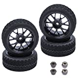 (4-Pack) HobbyPark OD 2.56''(65mm) Rubber Tires & Wheels 12mm Hex Drive Hub for 1/10th Scale RC Touring Car