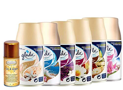 DC Glade Automatic Spray Set 6 Ricarica - Vanilla Blossom- Ocean - Lavanda&Jasmin - Relaxing Zen - Sandalo& Jasmine - Floral, 269ML più Deodorante SALVATESSUTI Oro&ARGAN 150ML