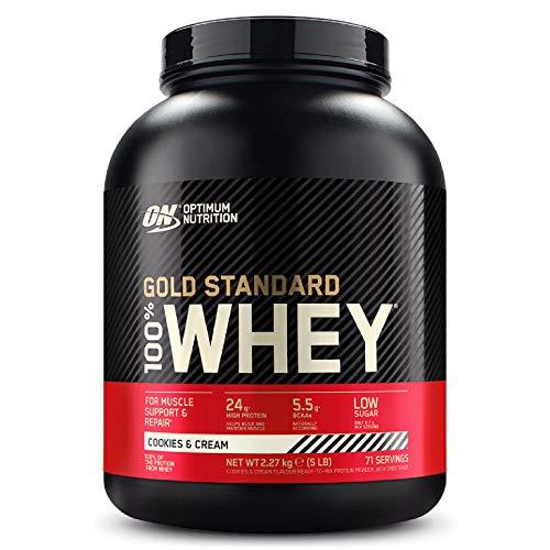 Optimum Nutrition Gold Standard 100% Whey Proteine in Polvere con Proteine Isolat ed Aminoacidi per la Massa Muscolare, Cookies & Cream, 71 Porzioni, 2.27 Kg, il Packaging Potrebbe Variare