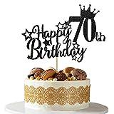 Ushinemi 70th Birthday Cake Topper - 70 Brithday Decorations for men women 5.9x4.79 inch, Glitter...