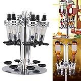 Liquor Dispenser, 6 Bottle Revolving Alcohol Rotating Dispenser for Wine Racks Cocktail Dispenser Wine Holder Bar Party Drinking