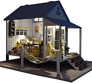 Rylai 3D Puzzles Wooden Handmade Miniature Dollhouse DIY Kit w/ Light-Happiness Coast Series Dollhouses accessories Dolls Houses With Furniture & LED & Music Box Best Birthday Gift for Women and Girls